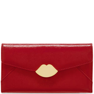 Lulu Guinness Women's Large Trifold Cross Hatched Leather Wallet - Red