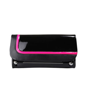 Rupert Sanderson Niella Leather Clutch - Black Patent/Fuchsia