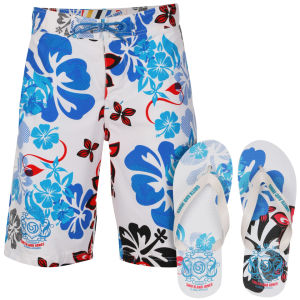 Smith & Jones Kye Men's Swim Shorts and Flip Flops - White