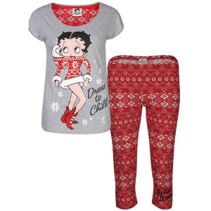 Betty Boop Women's Fairisle Pyjama Set - Red & Grey Marl
