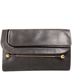 Rupert Sanderson Clio Large Leather Clutch - Grey/Dark Brown Patent Trim