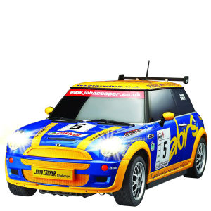 Race Tin - Mini Cooper - Blue/Yellow 1:28 scale