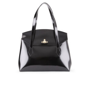 Vivienne Westwood Women's Monaco Shine Curve Top Leather Tote - Black