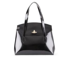 Vivienne Westwood Women's Monaco Shine Curve Top Leather Tote - Black