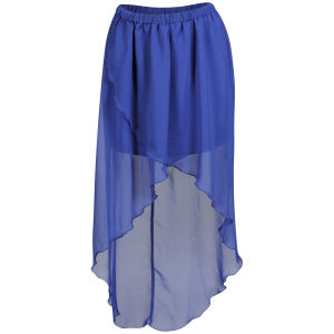 Influence Women's Low Back Chiffon Skirt - Blue