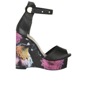 Kat Maconie Women's Monica Leather Platform Wedges - Black Bird Print