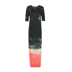 Draw In Light Women's 10 T Maxi Dress - Red & Navy Garden
