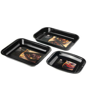 Swan 3pc Enamel Roaster and Chop Tray Set