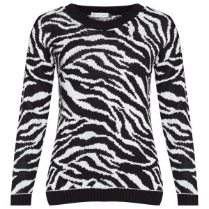 Moku Women's Zebra Knitted Long Sleeve Jumper - Black/White