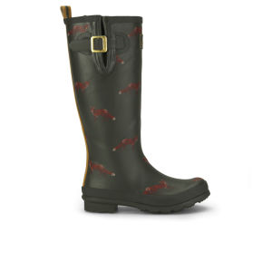 Joules Women's Welly Print Wellies - Green Fox