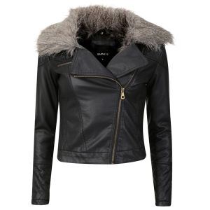 Barneys Women's Trisha Fur Collar Leather Look Biker Jacket - Black