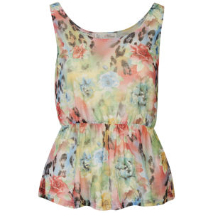 Nova Women's Floral Burn Out Print Peplum Top - Green