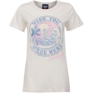 Junk Food Women's Wish You Were Here Smurf T-Shirt - Sugar
