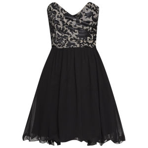Little Mistress Women's  Flock Detail Bandeau Prom Dress - Black
