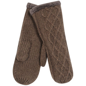 Women's Cable Knit Fingerless Mittens - Mink