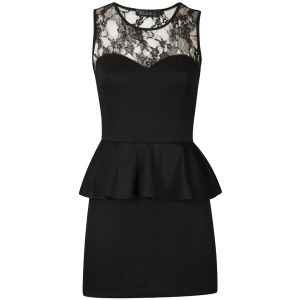 Club L Women's Candy Lace Peplum Dress - Black