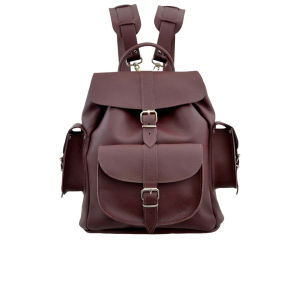 Grafea Wine Medium Leather Rucksack - Burgundy