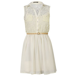 Moku Women's Lace Front Belted Shirt Dress - Ivory