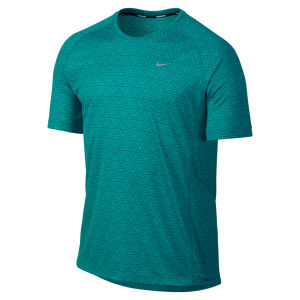 Nike Men's Printed Miler Short Sleeve Running T-Shirt - Turbo Green