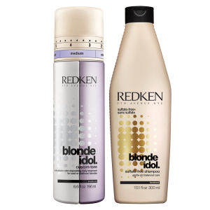 Redken Blonde Idol Shampoo (300ml) und Custom-Tone Violet Conditioner (196ml) Duo