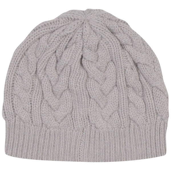 Johnstons of Elgin Cable Knit Cashmere Beanie Hat - Agate