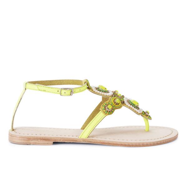 Ilse Jacobsen Women's Embellished Leather Sandals - Yellow