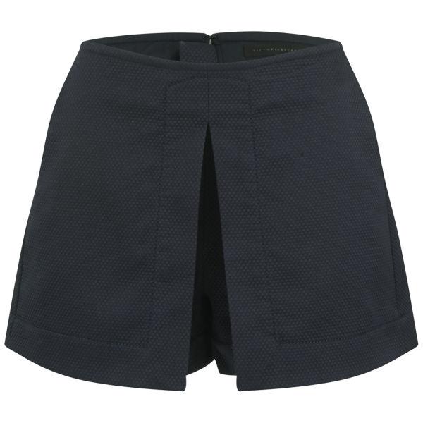Victoria Beckham Women's Front Pleat Shorts - Navy