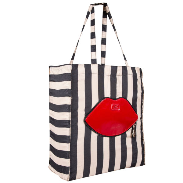 Lulu Guinness Red Lip Stripe Foldaway Shopper - Red/Black/White