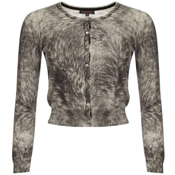 Cocoa Cashmere Women's Fur Print Cropped Cardi - Fur Print