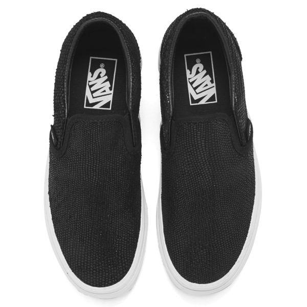 womens vans classic slip on black