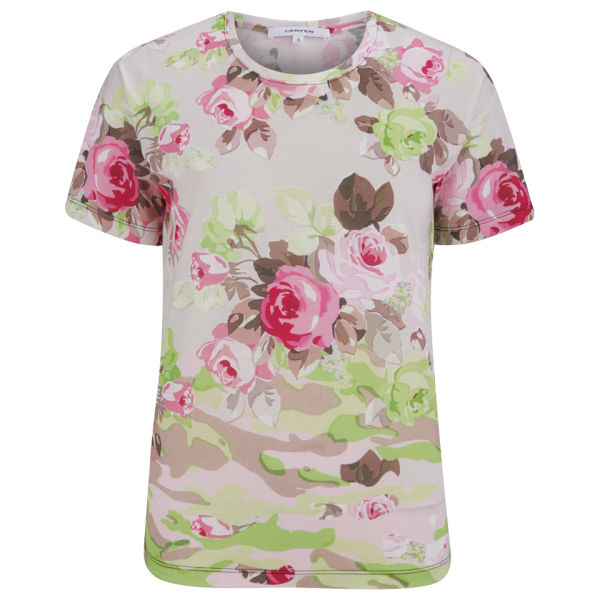 Carven women s jersey floral camouflage t shirt sable free uk