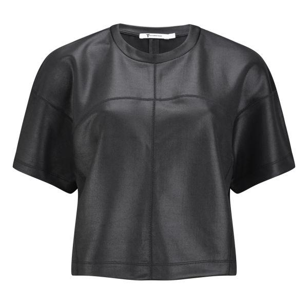 T by Alexander Wang Women's Shiny Boxy T-Shirt - Black