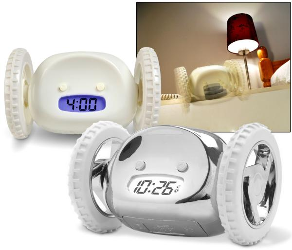 clocky the runaway clock Abuse the snooze clocky is the alarm clock that runs away beeping, to get you  out of bed.