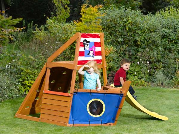 Captain plum pirate ship wooden play centre toys - Wooden pirate ship outdoor ...