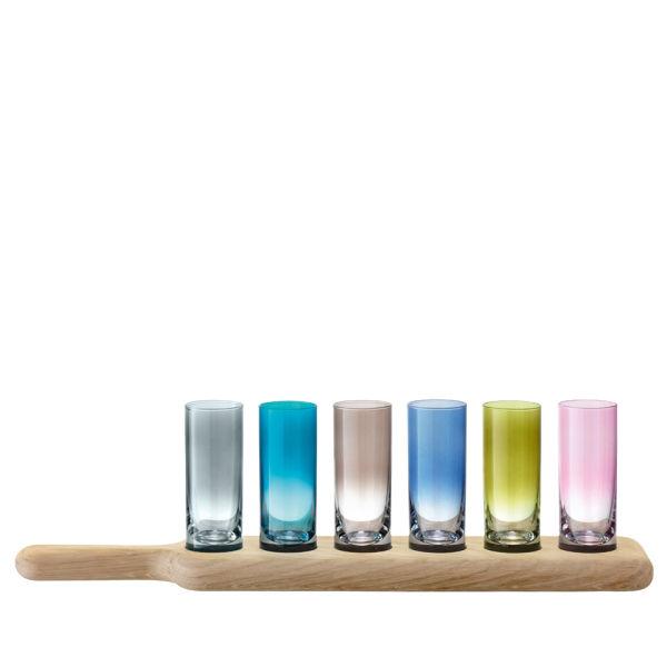 LSA Paddle Vodka Set and Oak Paddle - Assorted Colours (40cm)