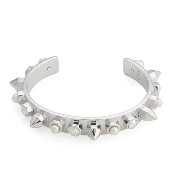 Maria Francesca Pepe Encrusted Studs, Pearls and Swarovski Thin Cuff - Rhodium/Aurora/White