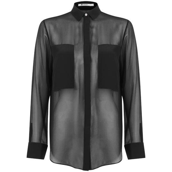 T by Alexander Wang Women's Silk Chiffon Long Sleeve Shirt - Black