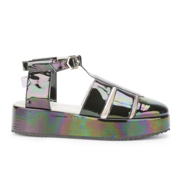 New Kid Women's Claude Band Iridescent Patent Leather Platform Sandals - Oil Slick