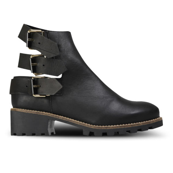 Miista Women's Cecilia Heeled Leather Buckle Boots - Black