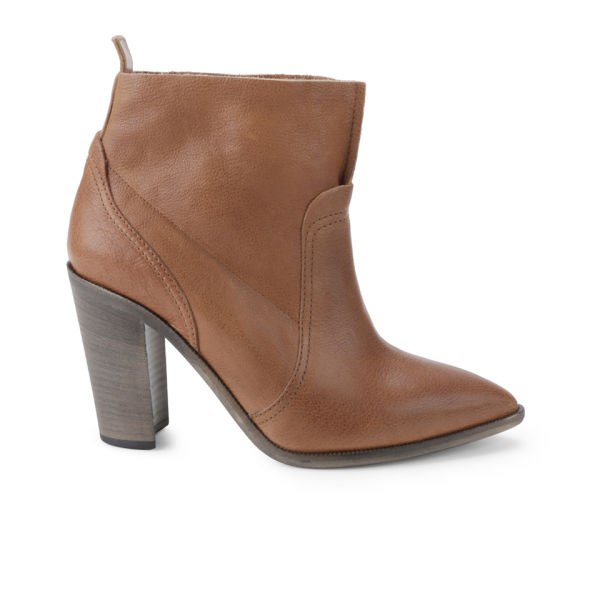 BOSS Orange Women's Evodine Pointed Toe Heeled Leather Ankle Boots - Medium Brown