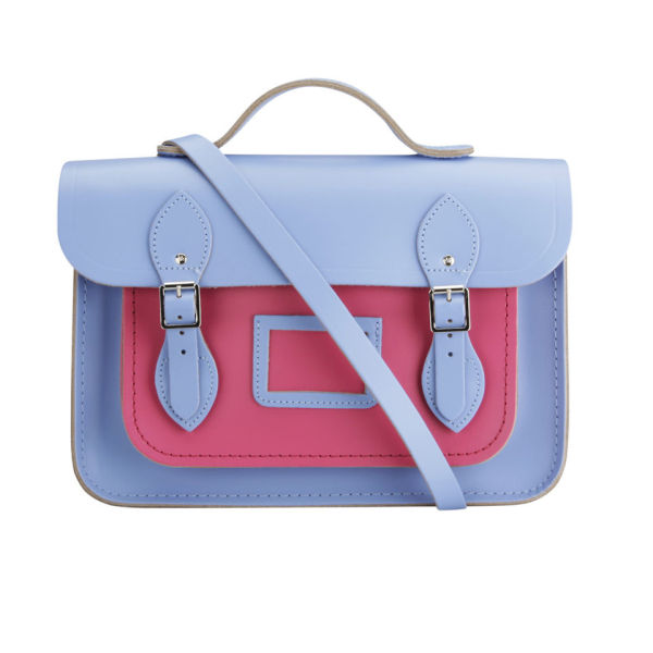 The Cambridge Satchel Company 13 Inch Classic Leather Satchel - Bellflower Blue/Orchid