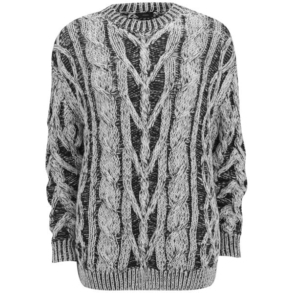 Joseph Women's Contrast Cable Sweater - Black/White