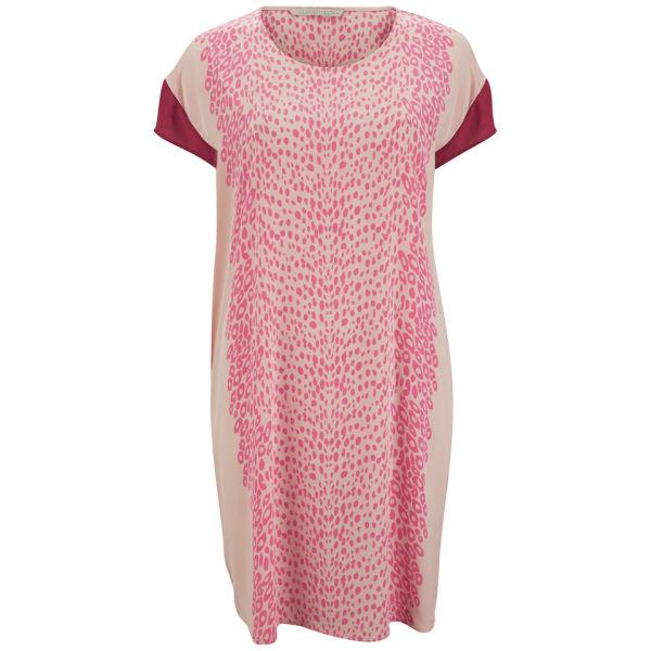 Custommade Women's Silk Print Dress - Pink Sand