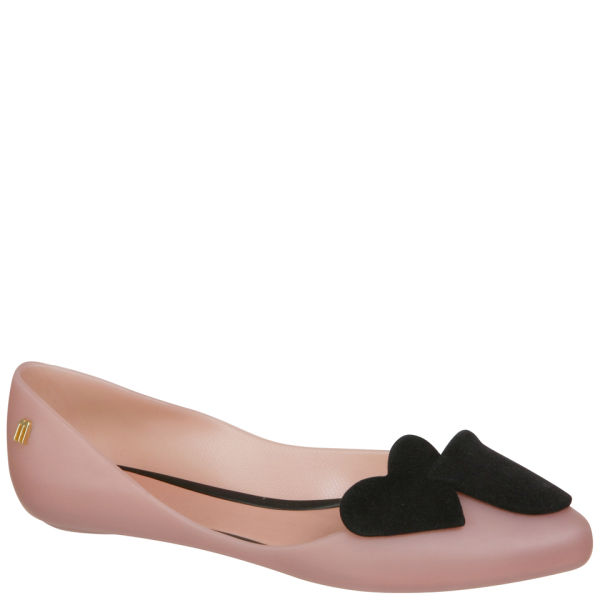 Melissa Women's Trippy Heart Pointed Ballet Pumps - Nude Contrast