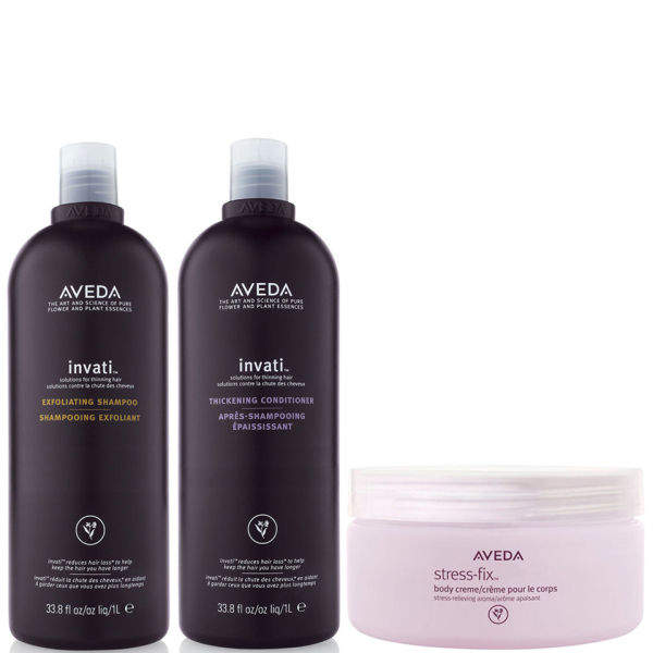 Aveda Invati Shampoo and Conditioner 1000ml with Stress Fix Body Cream