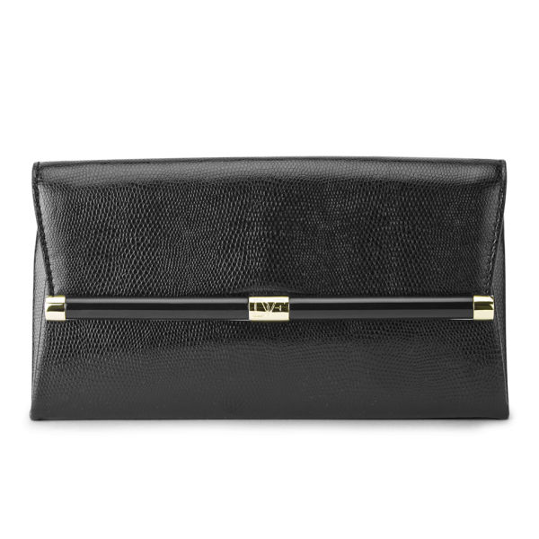 Diane von Furstenberg Women's Lizard Embossed Leather Envelope Clutch Bag - Black
