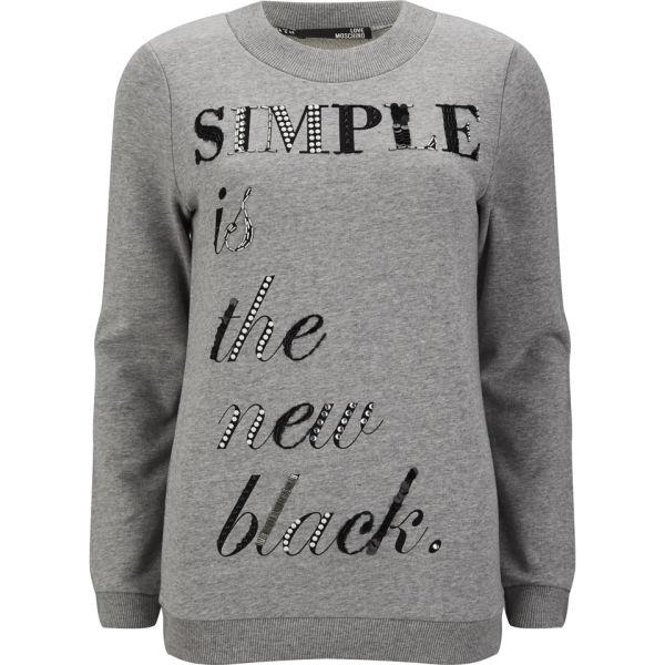 Love Moschino Women's Embroidered Sweatshirt - Grey