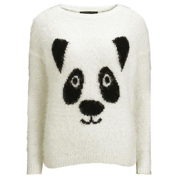 Knitting Pattern Panda Jumper : Love Knitwear Womens Tinsel Panda Christmas Jumper - White Womens Clothi...