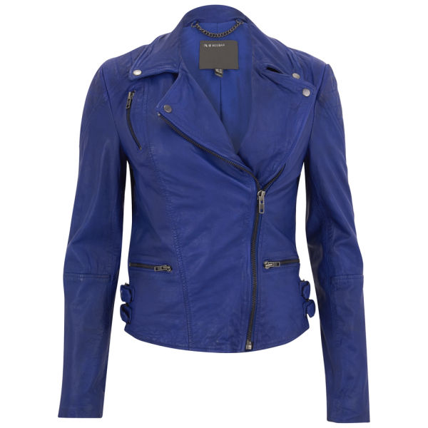 Muubaa Women's Ollon Quilted Leather Biker Jacket - Oxford Blue