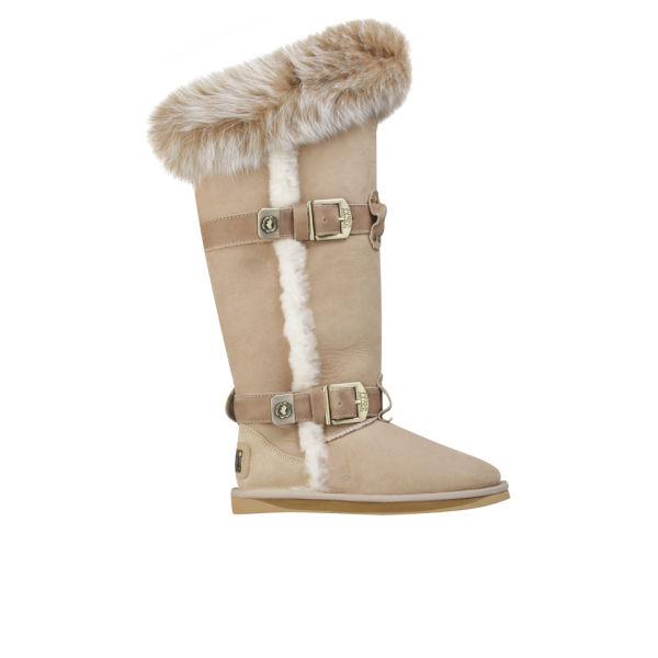 Australia Luxe Women's Tsar Extra Tall Sheepskin Fox Fur Boots - Sand